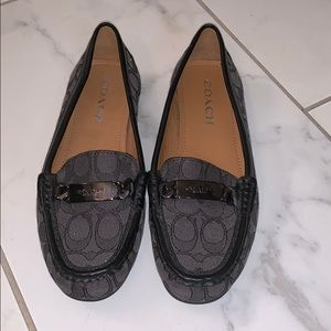 Coach Black Logo Driver Loafer 7.5 Like New